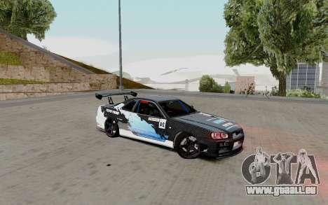 Nissan Skyline GT-R 34 Toyo Tires für GTA San Andreas rechten Ansicht