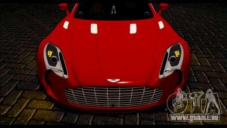 Aston Martin One-77 Black Beige pour GTA San Andreas sur la vue arrière gauche