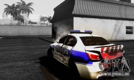 BMW M5 E60 POLICIJA pour GTA San Andreas sur la vue arrière gauche