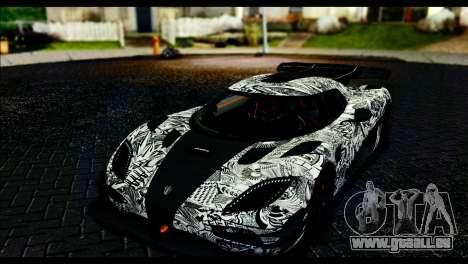 Koenigsegg One:1 v2 pour GTA San Andreas vue de dessous
