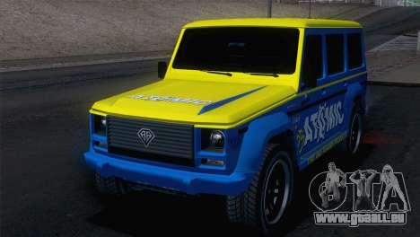 GTA 5 Benefactor Dubsta IVF pour GTA San Andreas vue arrière