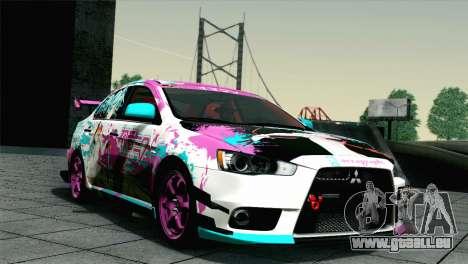Mitsubishi Lancer Evolution X Racing Miku 2014 für GTA San Andreas