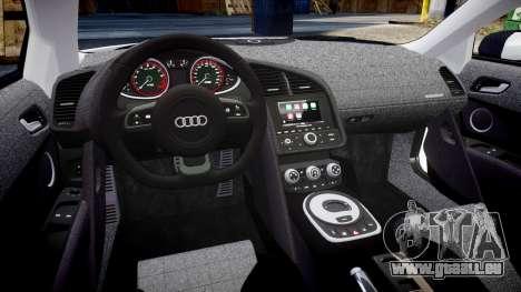 Audi R8 V10 Plus 2014 pour GTA 4 est une vue de l'intérieur