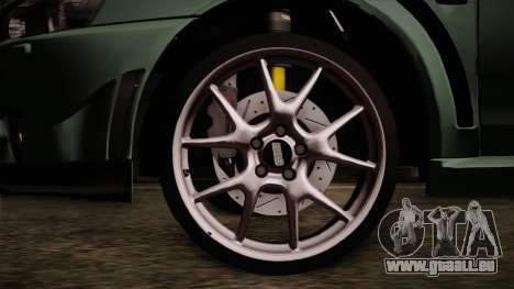 Mitsubishi Lancer Evolution FQ-400 für GTA San Andreas zurück linke Ansicht
