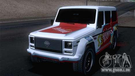 GTA 5 Benefactor Dubsta IVF pour GTA San Andreas vue de dessus