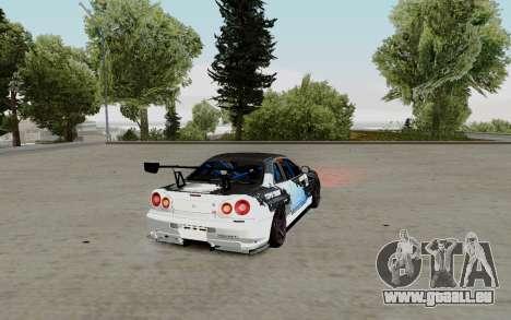 Nissan Skyline GT-R 34 Toyo Tires für GTA San Andreas zurück linke Ansicht
