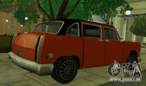 Cabbie Restyle pour GTA San Andreas sur la vue arrière gauche