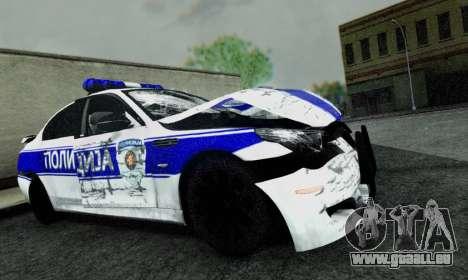 BMW M5 E60 POLICIJA pour GTA San Andreas vue de droite