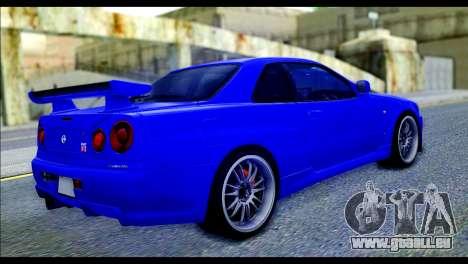 Nissan Skyline GTR R-34 from Fast and Furious 4 pour GTA San Andreas laissé vue