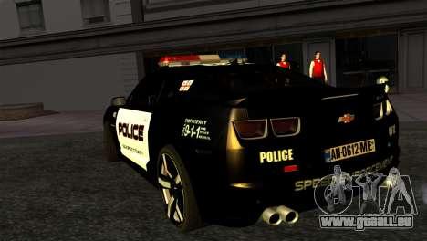 Chevrolet Camaro Police pour GTA San Andreas laissé vue
