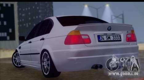 BMW M3 E46 Sedan pour GTA San Andreas laissé vue