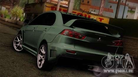 Mitsubishi Lancer Evolution FQ-400 pour GTA San Andreas laissé vue