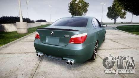 BMW M5 E60 v2.0 Stock rims pour GTA 4 Vue arrière de la gauche