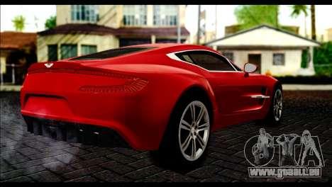 Aston Martin One-77 Black Beige pour GTA San Andreas laissé vue