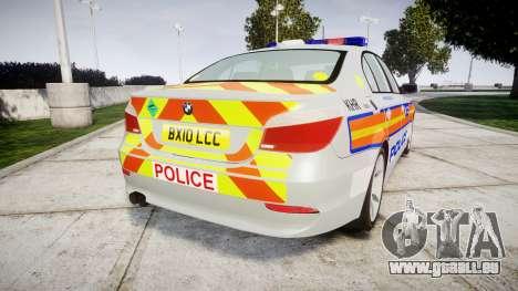 BMW 525d E60 2010 Police [ELS] pour GTA 4 Vue arrière de la gauche