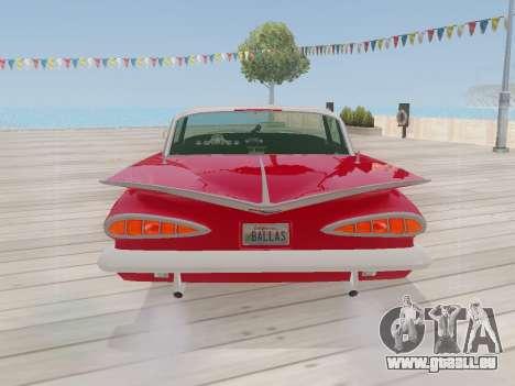 Chevrolet Impala 1959 für GTA San Andreas Rückansicht