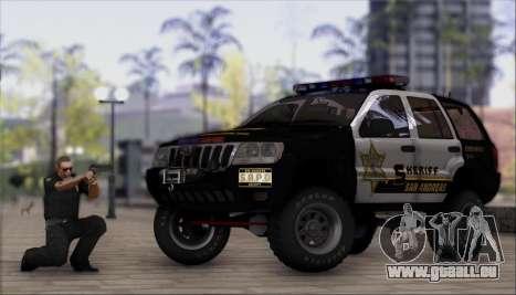 Jeep Grand Cherokee 1999 Sheriff für GTA San Andreas zurück linke Ansicht