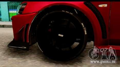 Mitsubishi Lancer Evolution FQ-400 V2 für GTA San Andreas zurück linke Ansicht