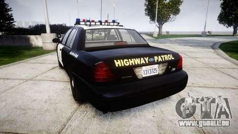 Ford Crown Victoria Highway Patrol [ELS] Vision pour GTA 4 Vue arrière de la gauche