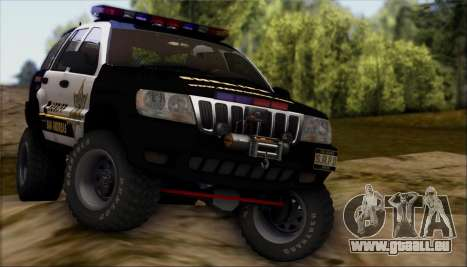 Jeep Grand Cherokee 1999 Sheriff pour GTA San Andreas vue de côté