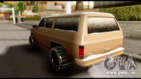 GTA 5 RancherXL pour GTA San Andreas sur la vue arrière gauche