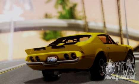 Chevrolet Camaro Mk.II pour GTA San Andreas laissé vue