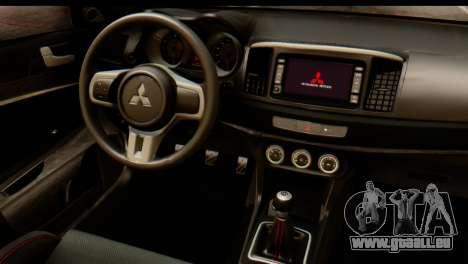 Mitsubishi Lancer Evolution FQ-400 V2 für GTA San Andreas Rückansicht