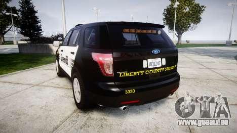 Ford Explorer 2013 County Sheriff [ELS] pour GTA 4 Vue arrière de la gauche