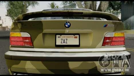 BMW M3 E36 Camo Drift pour GTA San Andreas vue arrière