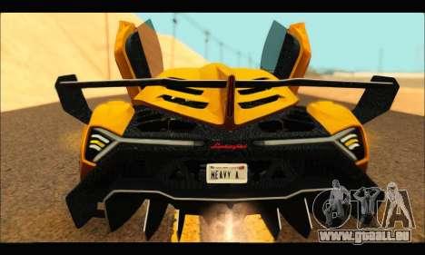 Lamborghini Veneno 2013 HQ pour GTA San Andreas sur la vue arrière gauche