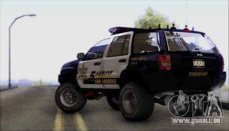 Jeep Grand Cherokee 1999 Sheriff pour GTA San Andreas vue arrière
