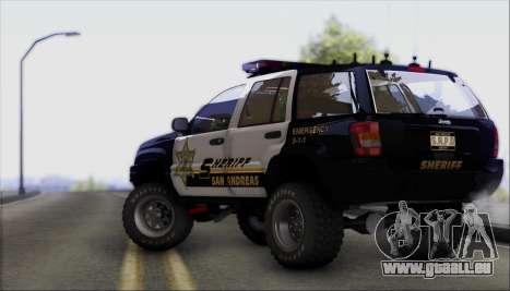 Jeep Grand Cherokee 1999 Sheriff für GTA San Andreas Rückansicht