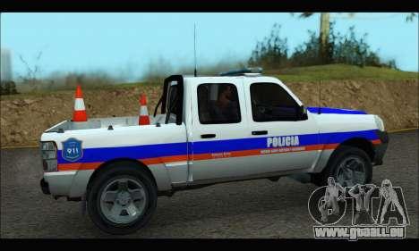 Ford Ranger 2011 Patrulleros CPC pour GTA San Andreas sur la vue arrière gauche
