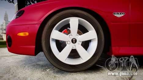 Pontiac GTO 2006 18in wheels für GTA 4 Rückansicht