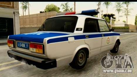VAZ 2107 DPS pour GTA San Andreas laissé vue