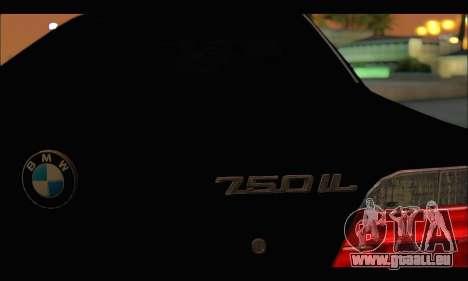 BMW 750iL für GTA San Andreas obere Ansicht