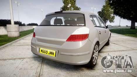 Vauxhall Astra 2009 Police [ELS] Unmarked pour GTA 4 Vue arrière de la gauche