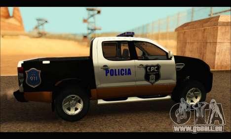 Ford Ranger P.B.A 2015 Text3 pour GTA San Andreas sur la vue arrière gauche
