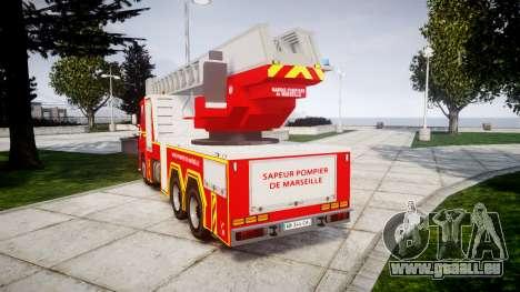 Scania R580 Marseille Fireladder [ELS] pour GTA 4 Vue arrière de la gauche