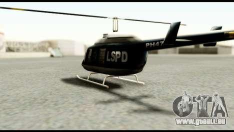 Beta Police Maverick pour GTA San Andreas sur la vue arrière gauche