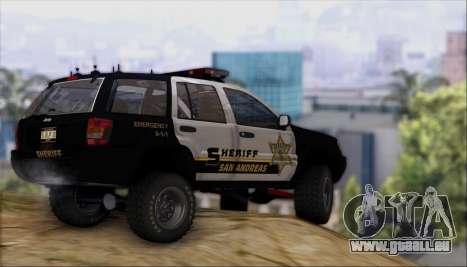 Jeep Grand Cherokee 1999 Sheriff für GTA San Andreas Innenansicht