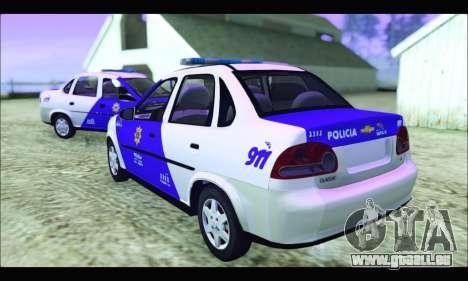 Chevrolet Corsa Classic Policia de Santa Fe pour GTA San Andreas laissé vue