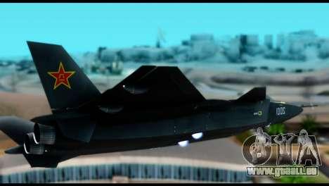 Chenyang J-20 BF4 pour GTA San Andreas sur la vue arrière gauche