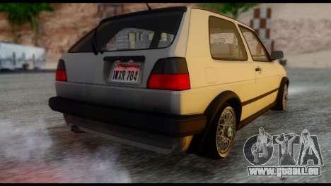 Volkswagen Golf Mk2 pour GTA San Andreas laissé vue