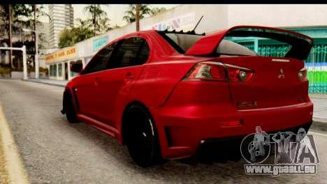 Mitsubishi Lancer Evolution FQ-400 V2 pour GTA San Andreas laissé vue