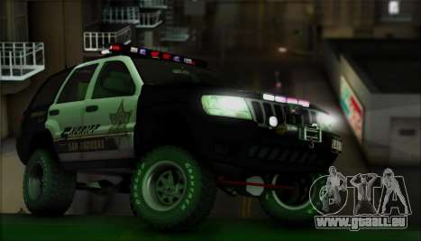 Jeep Grand Cherokee 1999 Sheriff für GTA San Andreas obere Ansicht