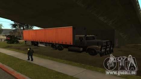 Cuve de Transport de la remorque pour GTA San Andreas troisième écran