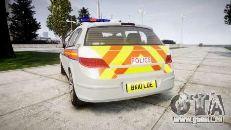 Vauxhall Astra 2010 Police [ELS] Whelen Liberty pour GTA 4 Vue arrière de la gauche