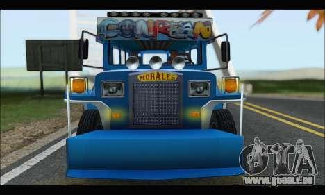 Jeepney Morales pour GTA San Andreas vue arrière