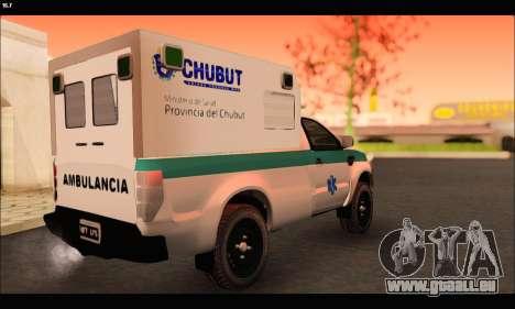 Ford Ranger 2013 Ambulancia Chubut pour GTA San Andreas sur la vue arrière gauche